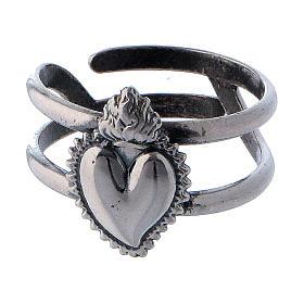 Anillo ajustable corazón votivo vacío de plata 925 s2