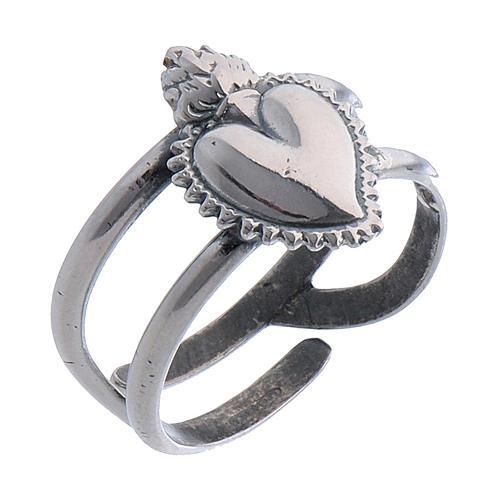 Anillo ajustable corazón votivo vacío de plata 925 1
