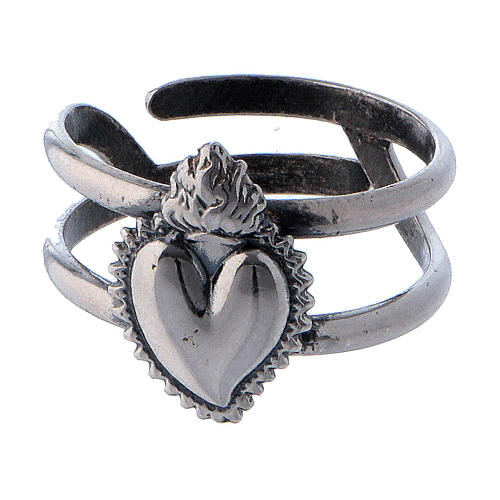 Anillo ajustable corazón votivo vacío de plata 925 2