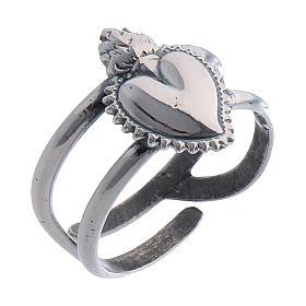 Anello regolabile cuore votivo vuoto in argento 925 s1