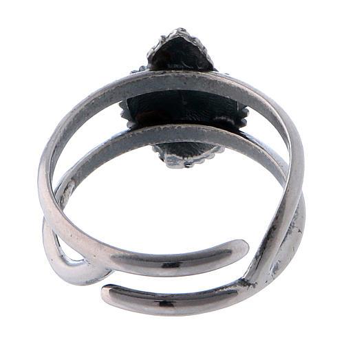 Anello regolabile cuore votivo vuoto in argento 925 3