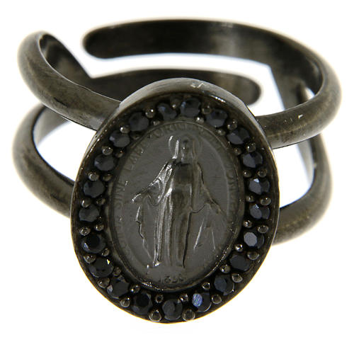 Ring in 925 silver with black zircons Miraculous Medal, black 2