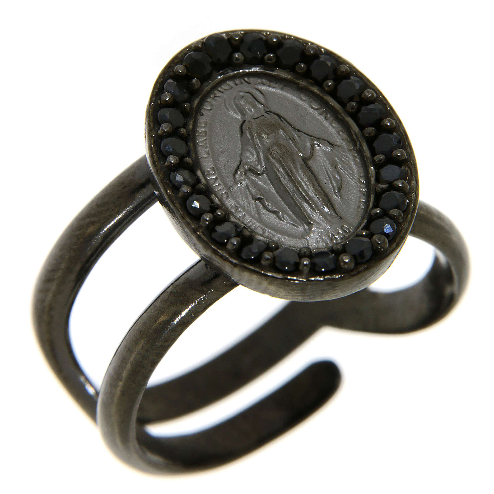 Ring in 925 silver with black zircons Miraculous Medal, black 3