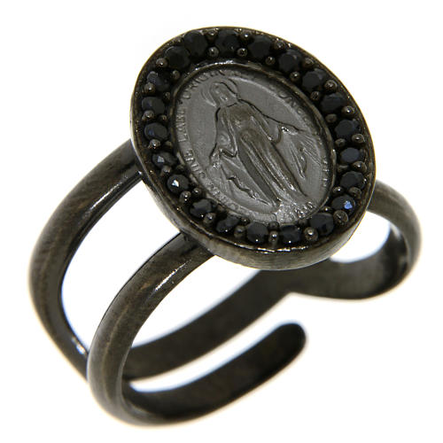 Ring in 925 silver with black zircons Miraculous Medal, black 1