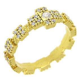 Anello in argento 925 dorato con zirconi trasparenti s1