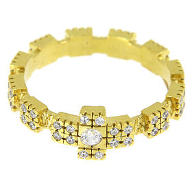 Anello in argento 925 dorato con zirconi trasparenti s2