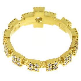 Anello in argento 925 dorato con zirconi trasparenti s3