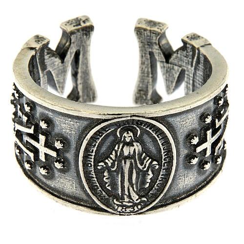 Anillo Virgen Medalla Milagrosa plata 925 2