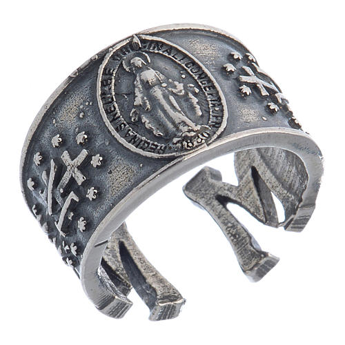 Ring in sterling silver Miraculous Medal 1