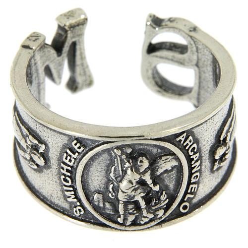 Obrączka Święty Michał Archanioł srebro 925 2