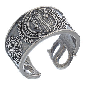 Ring in sterling silver Saint Benedict s1