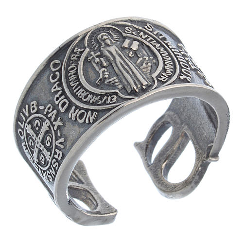 Ring in sterling silver Saint Benedict 1