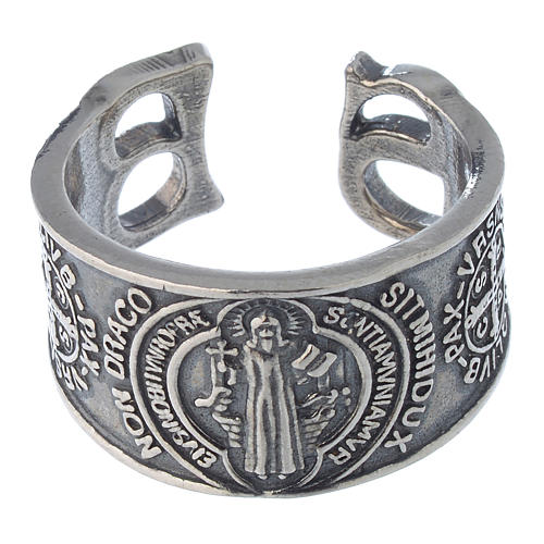Ring in sterling silver Saint Benedict 2