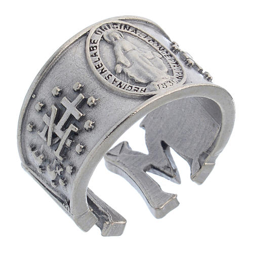Ring in pewter Miraculous Medal 1