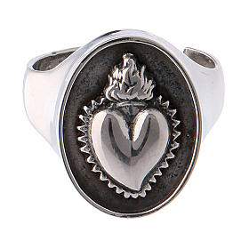 Ring in burnished silver with votive heart s2