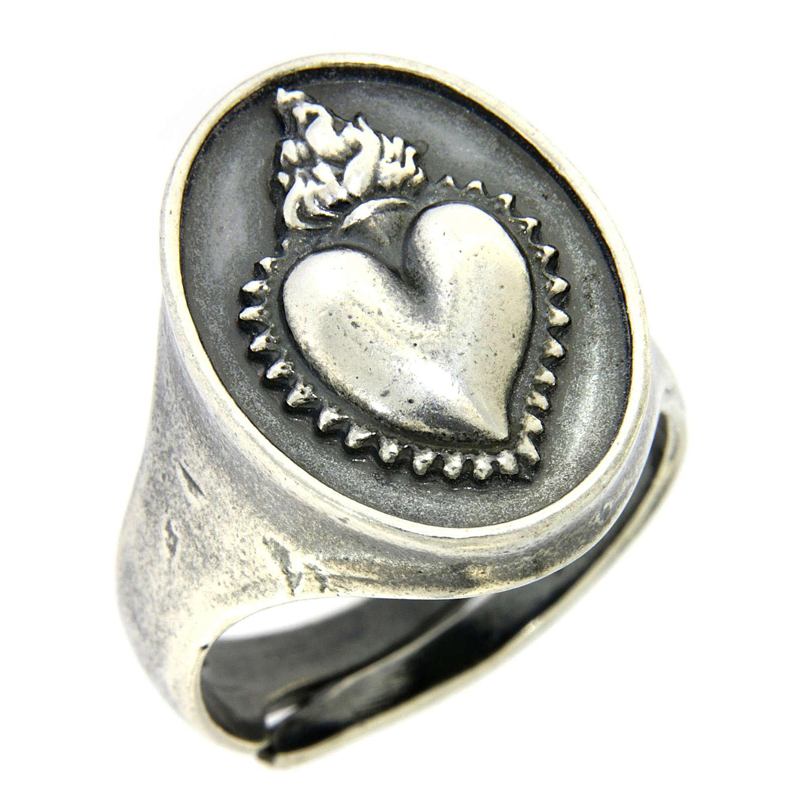 Anello cuore votivo Argento brunito 3