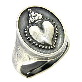 Anello cuore votivo Argento brunito s1