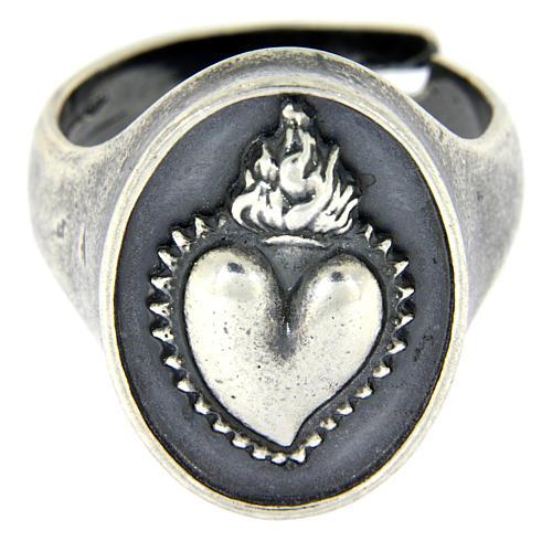 Anello cuore votivo Argento brunito 2