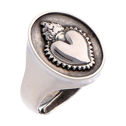 Anello cuore votivo Argento brunito 1