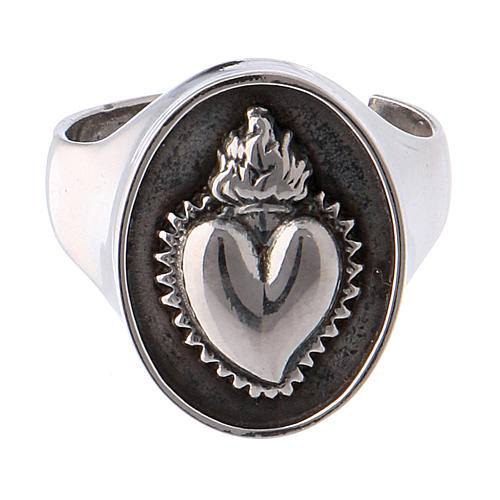 Ring votive heart in burnished silver 2