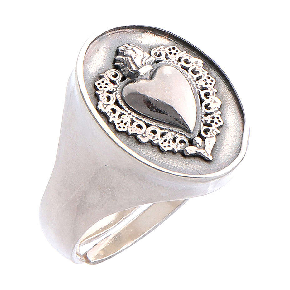 Ring in burnished silver with votive heart symbol 3