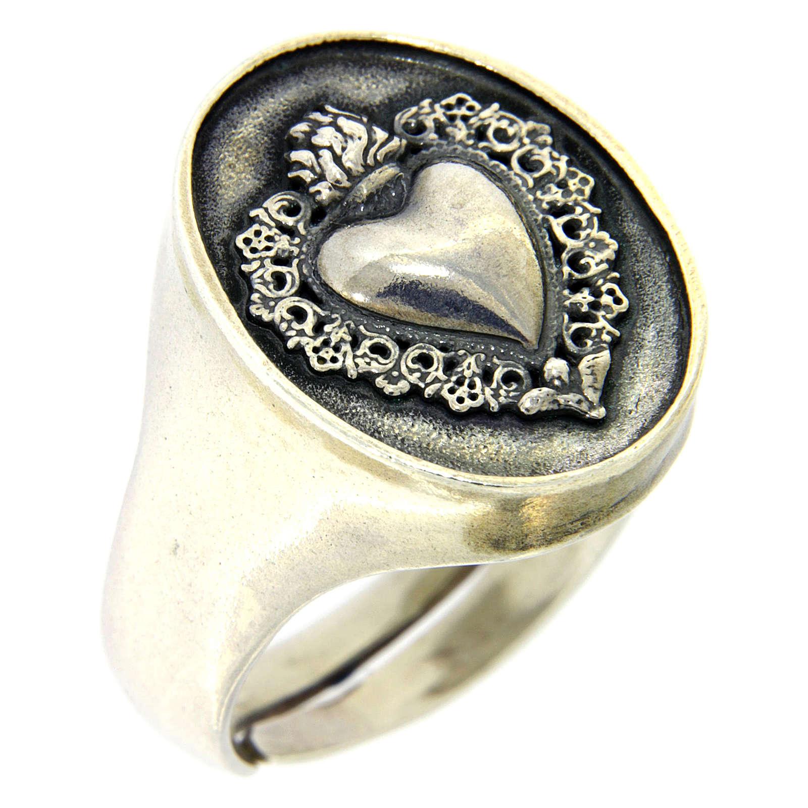 Anello simbolo cuore votivo Argento brunito 3