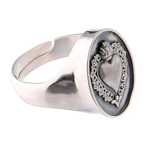 Anello simbolo cuore votivo Argento brunito 4