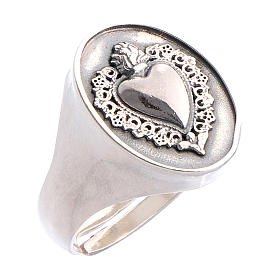 Ring with ex-voto heart in burnished silver s1