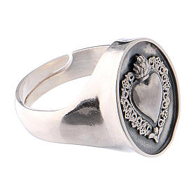 Ring with ex-voto heart in burnished silver s4