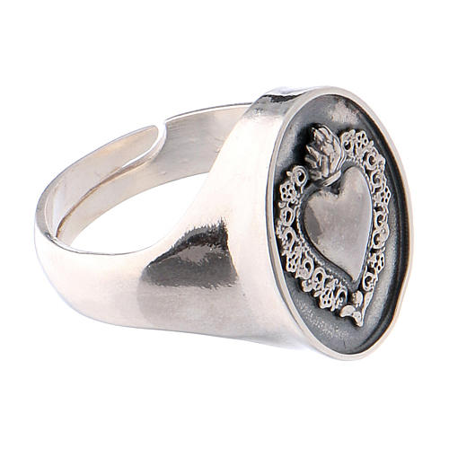 Ring with ex-voto heart in burnished silver 4