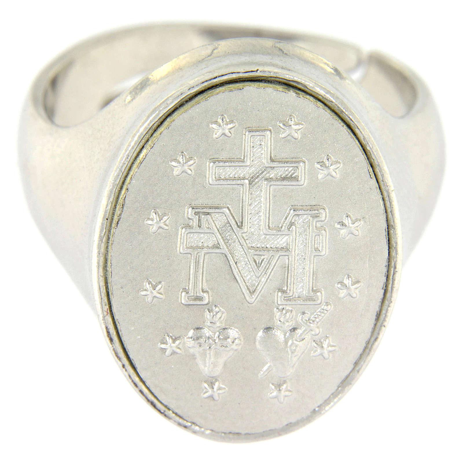 Anillo medalla Virgen Milagrosa Plata 925 3
