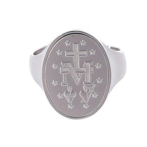 Anillo medalla Virgen Milagrosa Plata 925 2