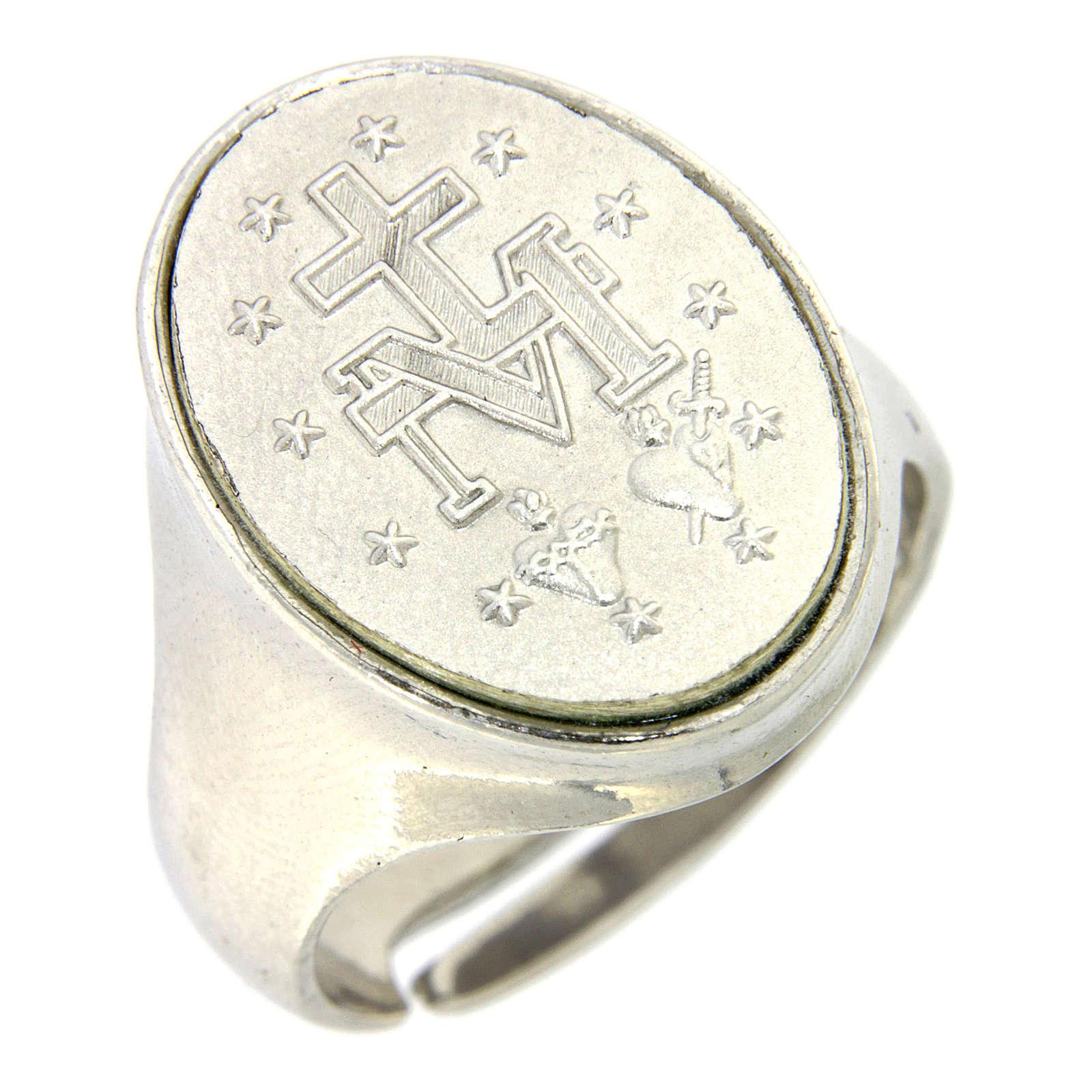 Anello medaglia Madonna Miracolosa Argento 925 3