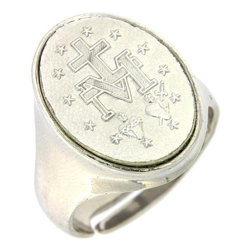 Anello medaglia Madonna Miracolosa Argento 925 1