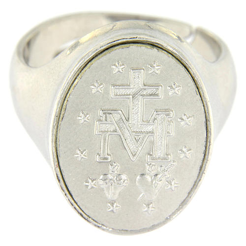 Anello medaglia Madonna Miracolosa Argento 925 2