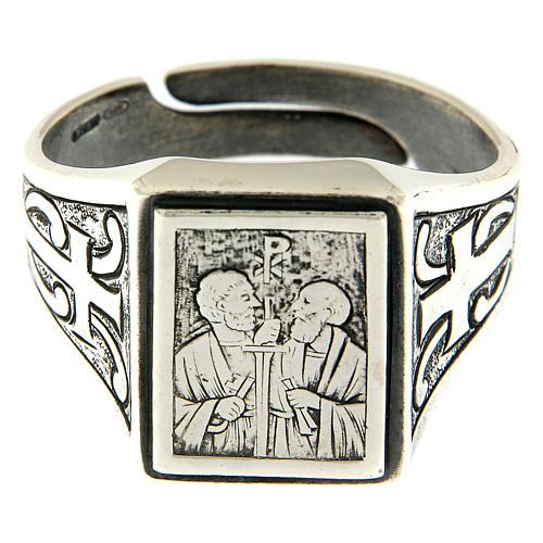 Anillo símbolo Viña del Señor plata 925 envejecida 2