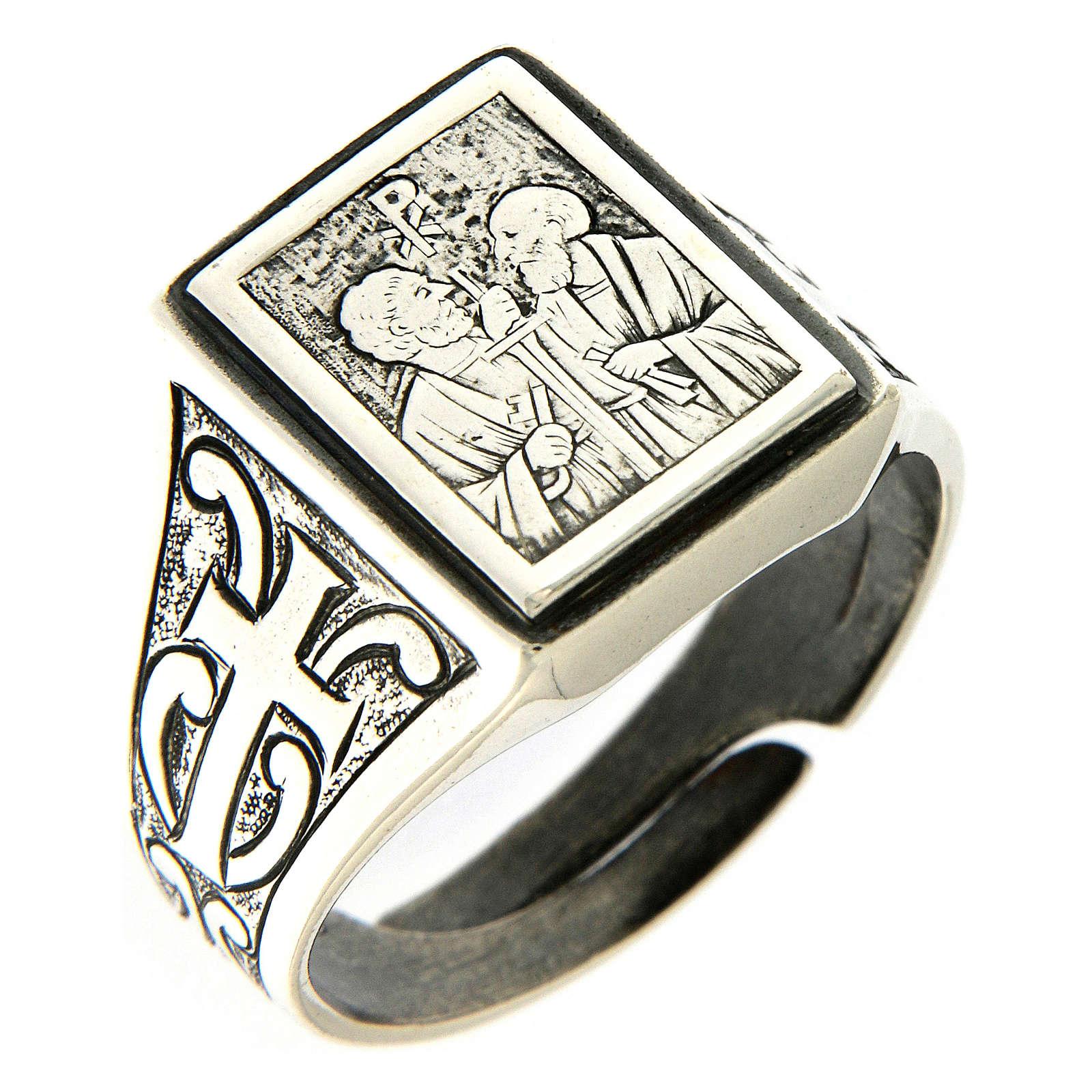 Bague symbole Vigne du Seigneur argent 925 vieilli 3
