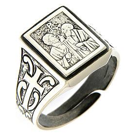 Bague symbole Vigne du Seigneur argent 925 vieilli s1