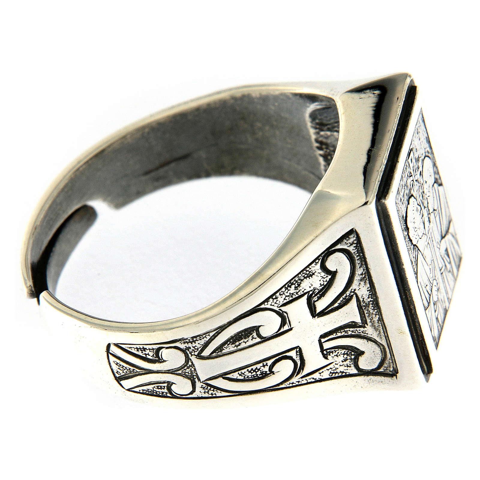 Anello simbolo Vigna del Signore argento 925 anticato 3