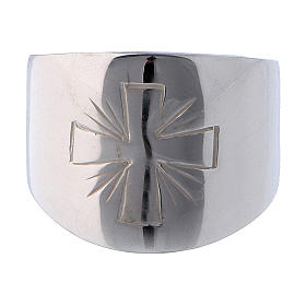 Ring in sterling silver with carved Cross s2
