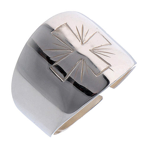 Ring in sterling silver with carved Cross 1