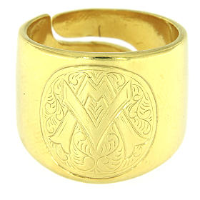Ring in sterling silver with Ave Maria symbol s2