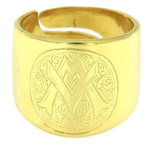 Ring in sterling silver with Ave Maria symbol 2