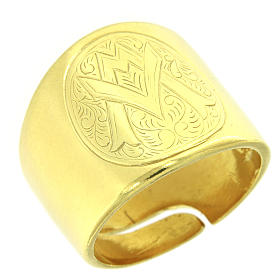 Ring with Ave Maria symbol, 925 Silver s1