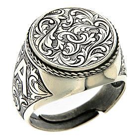 Ring Silber 925 mit Blumen Gravierung s1