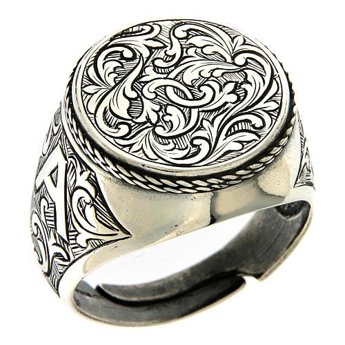 Ring Silber 925 mit Blumen Gravierung 1