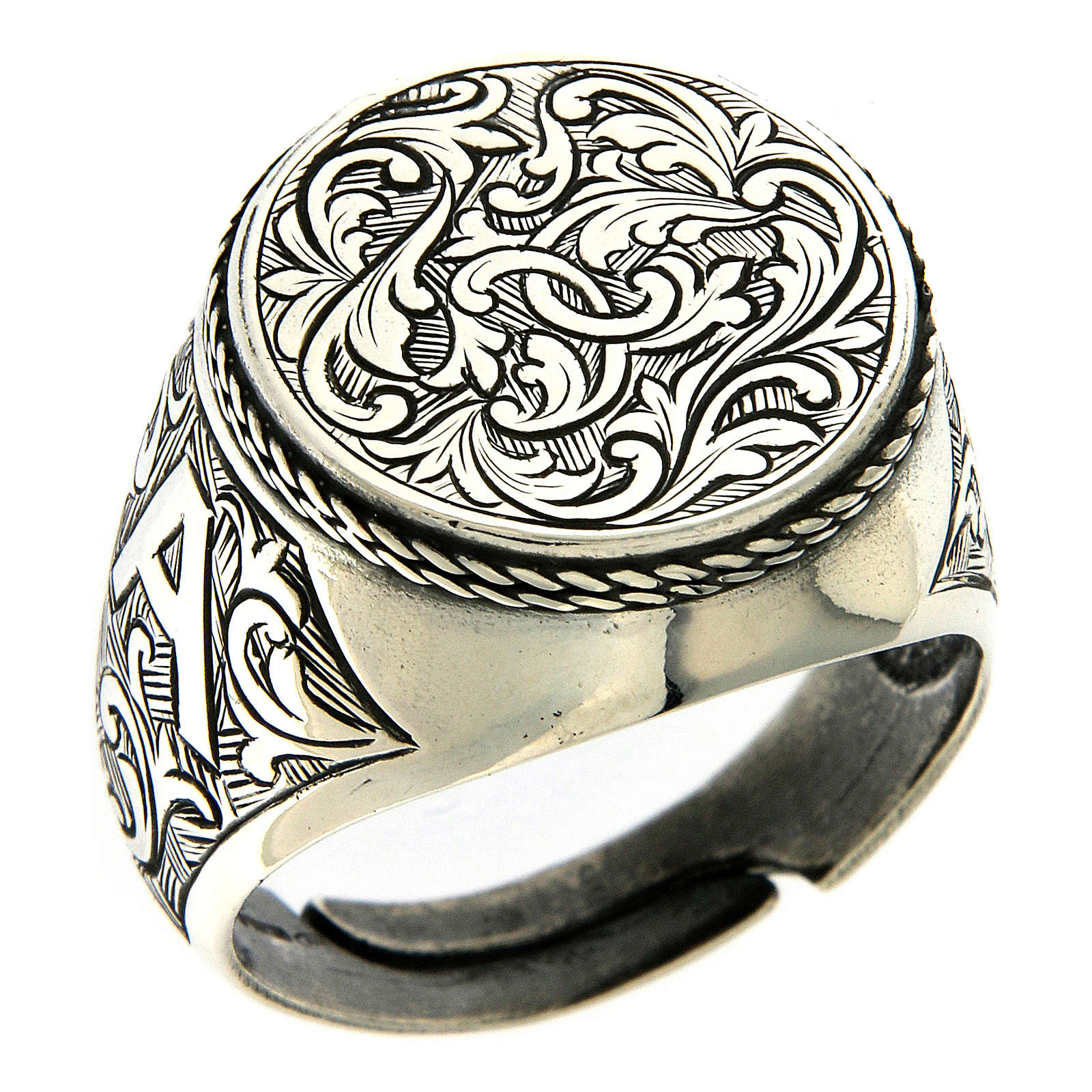 Ring in sterling silver with flower engraving 3