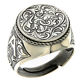Ring in sterling silver with flower engraving s1