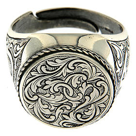 Ring in sterling silver with flower engraving s2