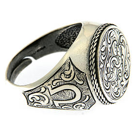 Ring in sterling silver with flower engraving s4